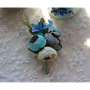 MOJUN Groom Flowers Rose Boutonniere Corsage Brooch Wedding Rose Boutonniere, Pack of 1, Blue 86