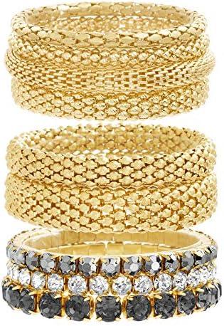 Steve Madden Yellow Gold Tone and Black Rhinestone Stretch Bangle Bracelet Set For Women, One Size (SMB488501GD)