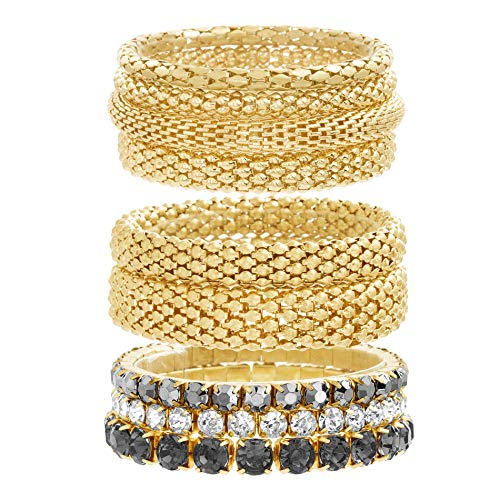 Steve Madden Yellow Gold Tone and Black Rhinestone Stretch Bangle Bracelet Set for Women