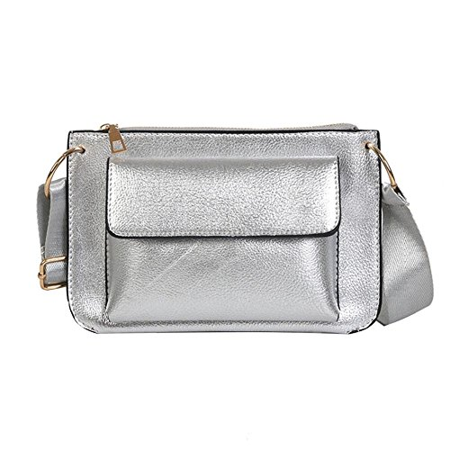 Glitter Silver Leather Domybest Women Shoulder Casual Messenger Bags Crossbody Bags Pure aqdHvd
