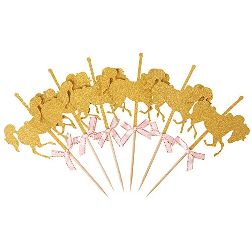 Glitter Gold Carousel Horse Cupcake or Cake Toppers Party Favors -
