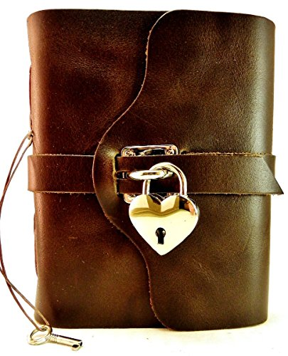 Locking Heart Journal in Chocolate Brown