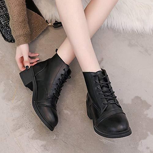 ZHZNVX Damenmode Stiefel Stiefel Stiefel PU Herbst Casual Stiefel Low Heel Mid-Calf Stiefel Schwarz Braun   Farbblock cd5573