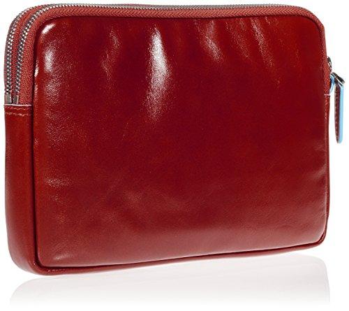 Piquadro Pochette Collezione Blue Square Borsa a mano, Pelle, Rosso, 23 cm
