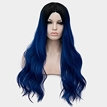 Netgo Ombre Navy Blue Synthetic Wigs For Women Long Wavy 2 Tones Wigs with  Dark Roots 943dc96f50
