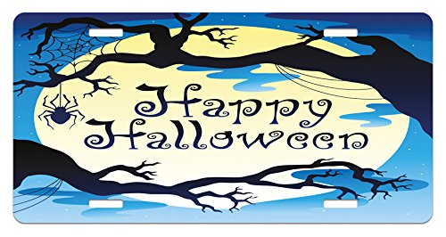 Lunarable Halloween License Plate, Happy Quote Spooky Night with Moon and Branches Shadows Haunted Drawing Print, High Gloss Aluminum Novelty Plate, 5.88 L X 11.88 W Inches, Yellow Black