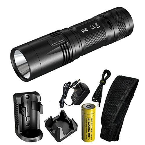(Nitecore R40 1000 Lumen Inductive Rechargeable LED Flashlight with Wall Mount and Desktop Charging Cradle, Lumen Tactical Adapter and USB)