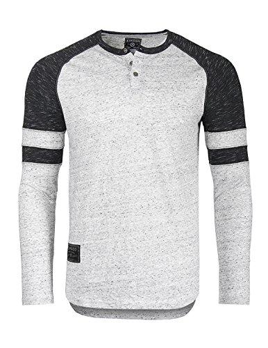 ZIMEGO Mens Long Sleeve Athletic Contrast Stripes Arm Raglan Henley