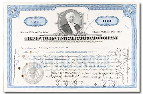 New York Central Railroad Company Stock Certificate Blue by MMGvintage_Stocks