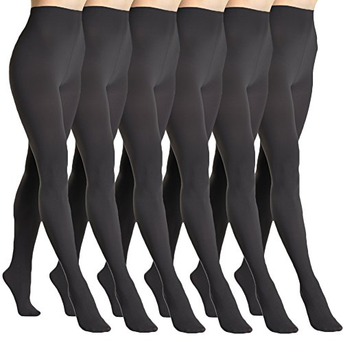 Angelina 6-Pack Super Warm Brushed Interior Thermal Tights, #009_6_Black