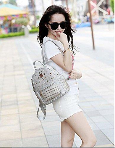 Backpack Women's silver Bag Leather Rivet Travel Mini Purse Studded Waterproof Shoulder Backpacks wqZqRIxrBO