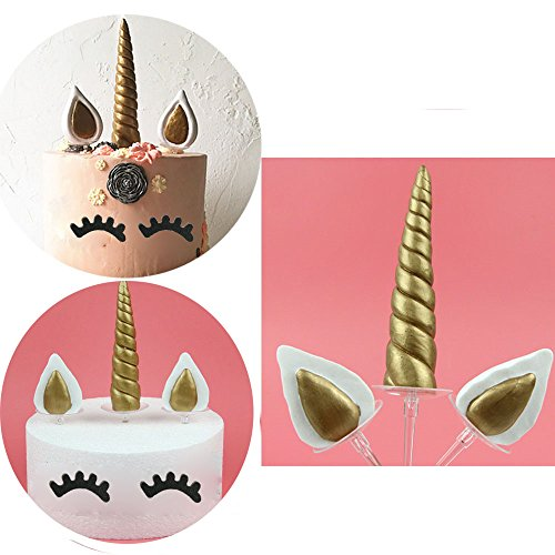 ade Gold Unicorn Birthday Cake Topper. Unicorn Horn, Ears and Eyelash Set. Unicorn Party Decoration for baby shower,wedding and birthday party (Cake Decorating Kit Birthday Topper)