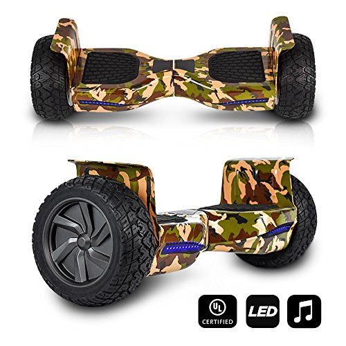 CHO All Terrain Black Rugged 8.5 Inch Wheels Hoverboard Off-Road Smart Self Balancing Electric Scooter With built-In Speaker LED Lights UL2272 Certified (Green Camouflage)