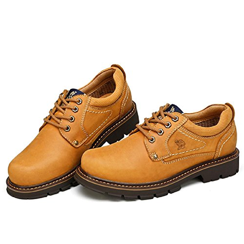 Camel Mens Casual Breathable Low Top Lace-up Non-slip Leather Shoes Brown 7zdU6
