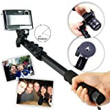 First2savvv ZP-188A01 black Self-portrait extendable telescopic handheld Pole Arm monopod Camcorder/Camera/mobile phone tripod mount adapter bundle for SAMSUNG EX2F WB250F WB800F Sony DSC-RX100II DSC-RX100M2 DSC-HX50V Canon EX2F WB250F WB800F OLYMPUS F300EXR FinePix T350 FinePix