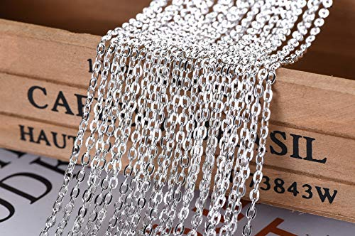 32 Feet Chain for Necklace Extender Chains Silver Plated Chain/God Chain/Bronze/White Bracelet Necklace Vintage Cross Chains-Jewelry Making Chain (B)