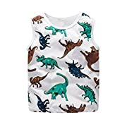 Minisoya Newborn Toddler Baby Boys Sleeveless Dinosaur Printed T-Shirt Casual Summer Tank Tops Vest Clothes Outfits (White, 18M)