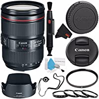 Canon EF 24-105mm f/4L IS II USM Lens 1380C002 (White Box) + 77mm UV Filter + 77mm Macro Close Up Kit + Lens Cleaning Pen + MicroFiber Cloth + Lens Cap Keeper + Deluxe Cleaning Kit Bundle