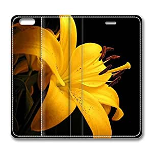 iPhone 6 Leather Case, Personalized Protective Flip Case Cover Yellow Lilies for New iPhone 6