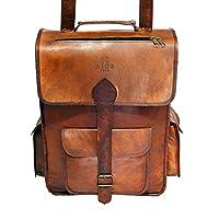 """HIDE 1858 TM Genuine Leather Messenger Cum Backpack Dark Tan 16"""""""