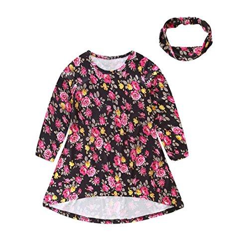 Price comparison product image Palarn 1Set Fashion Kids Girls Long Sleeve Floral Princess Dress Hairband 2PCS Clothes (6Y,  Black)
