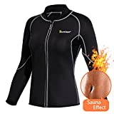 Junlan Neoprene Sanua Hot Body Shapers Sweat T-Shirts Fitness Suit Weight Loss Gym Yoga Sports Slimming Corset Long Sleeve (Black Sauna suit, XL) Review