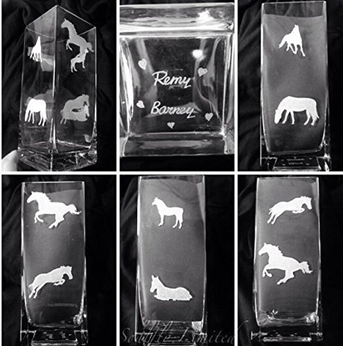 MOTHERS DAY HORSE SILHOUETTE ENGRAVED GLASS TANK VASE - PERSONALISED FREE Engraved, etched glass personalised FREE gift, wedding, birthday, mother, father, anniversary, present, Mr & Mrs, engagement, day, MEMORIAL