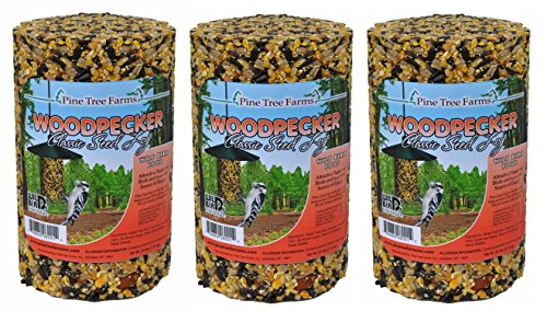 (Pack of 3) Pine Tree Farm Woodpecker Classic Seed Log, 40-Ounce (Seed Feeder Classic)