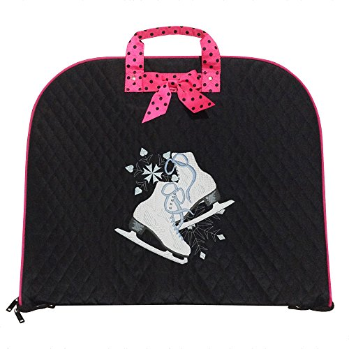 (TOP QUALITY Durable Quilted Custom Ice skating Figure Skating Design Garment Bag Luggage Travel or Costume Bag Personalized (Ice Skates, Black/Pink))