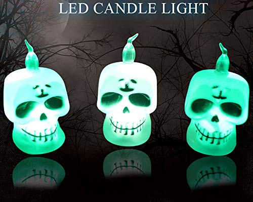 Rumas Mini LED Flameless Candle Light - Portable Pumpkin Skull LED Night Light - Button Battery Operated Nightlighting Scary (A)