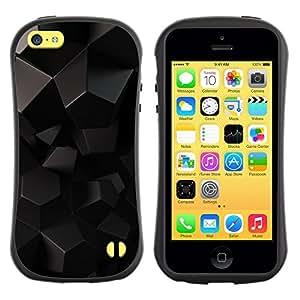 Suave TPU GEL Carcasa Funda Silicona Blando Estuche Caso de protección (para) Apple Iphone 5C / CECELL Phone case / / Black Shiny Reflective 3D /