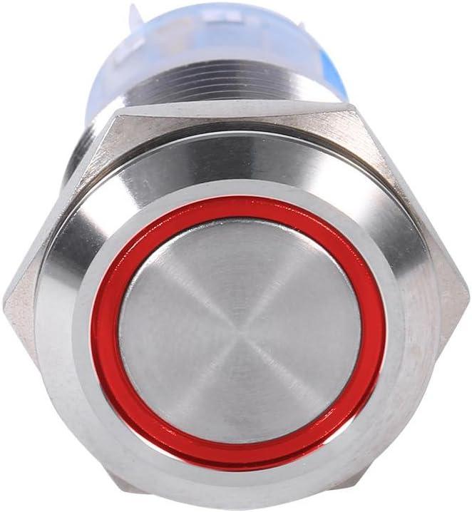 IK08 wasserdicht aus wasserdichtem Edelstahl ROTE LED Druckschalter LED19mm Qiilu Selbstsperrende 12V Ein-Ausschalter IP65