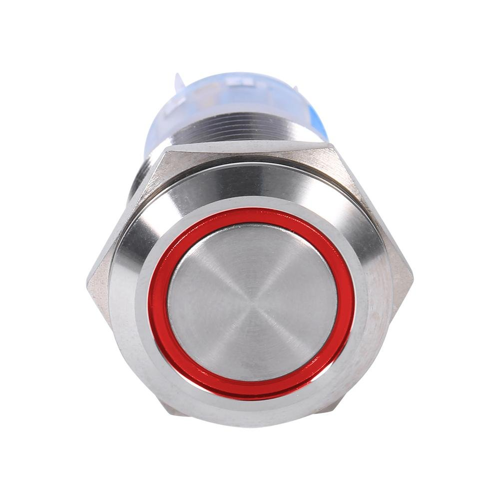 Green 19mm 12V Push Button Switch LED Self Locking Switch Waterproof Latching Switch On Off Mental Round