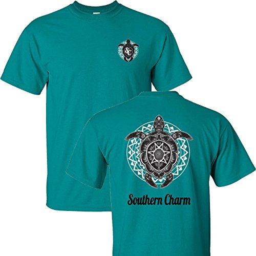 Southern Charm Turtle Print on a Jade Short Sleeve T - Warehouse Womens