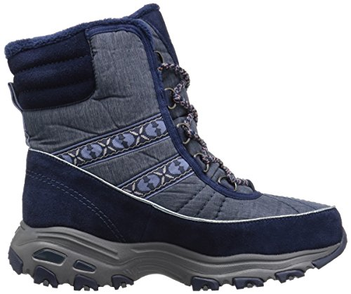 Skechers Donna Dlites Chateau Faux Fur Collar Winter Boot Navy