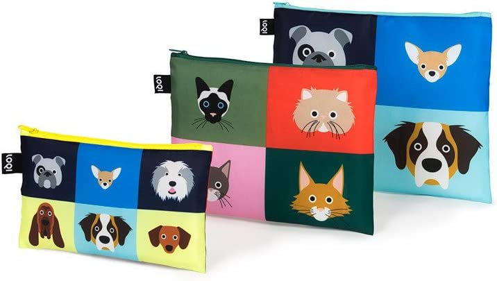 LOQI Artist Stephen Cheetham Dogs & Cats Zip Pockets Funda de carné, 32 cm, Multicolor (Multicolour)