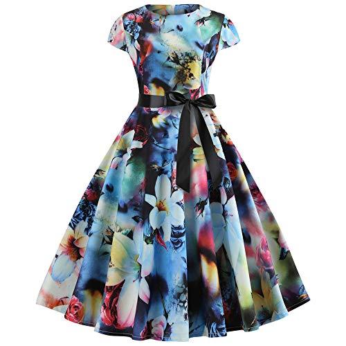 TOTOD Valentine's Day Sale,Vintage Dress Women Elegant Long Sleeve Print Dresses - O Neck Evening Party Swing Dress