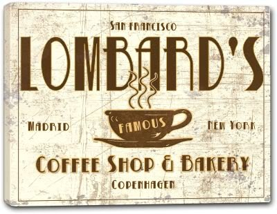 LOMBARD'S Coffee Shop & Bakery Gallery Wrapped Canvas Sign Home Wall Decor Gift 16