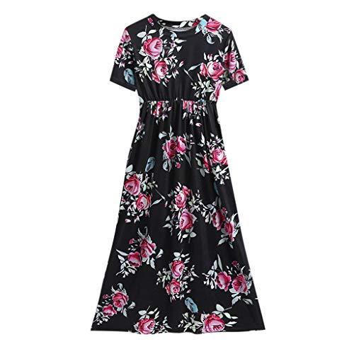 KLFGJ Little Girls Dresses, Floral Flowers Pocket Party Dresses for Kids 6-14 Yrs(Black,XXL)]()
