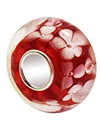 JMQJewelry 925 Sterling Silver Core Red Flower Glass Charms Bead For Bracelets