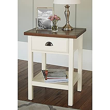 Beau Chatham House Newport Accent Table With Drawer In Ivory L 18.35u0026quot; W X  15.7u0026quot;