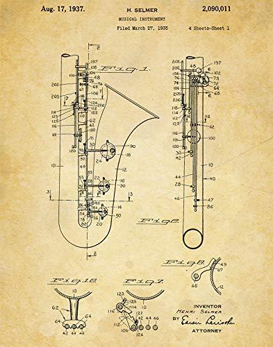 Saxophone Instrument Patent Wall Art Prints - one (11x14) Unframed - wall art decor for musicians