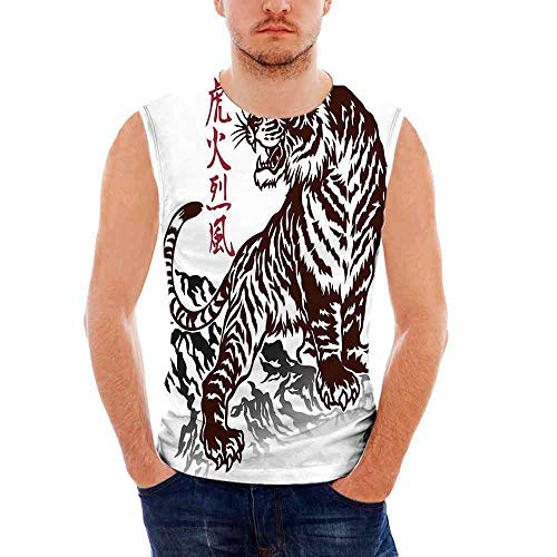Tattoo Custom Graphic Tank Tops,Wild Chinese Tiger with Stripes and Roaring -