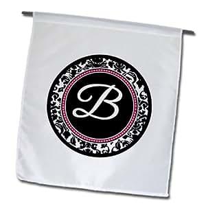 3dRose fl _ 154594_ 1letra B caliente elegante circle-girly initial-personalized Personal con el monograma de damasco negro rosa jardín bandera, 12por 45,72cm