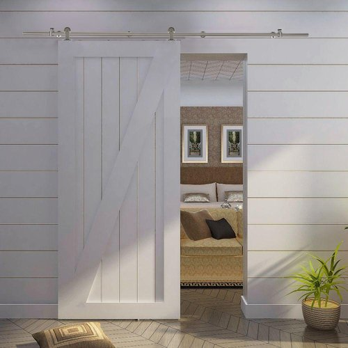 Best Choice Products® 6.6 FT Modern Stainless Steel Interior Sliding Barn Wood Door Hardware Track Set