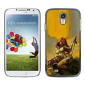 Caucho caso de Shell duro de la cubierta de accesorios de protección BY RAYDREAMMM - Samsung Galaxy S4 I9500 - Hero Sexy Redhead Yellow