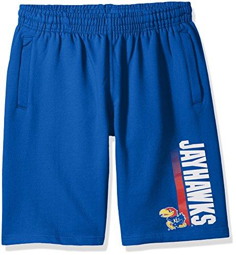Old Varsity Brand NCAA Kansas Jayhawks CVC Fleece Shorts, Royal Blue, Medium