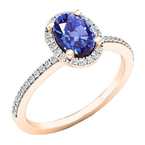 Dazzlingrock Collection 18K 7X5 MM Oval Tanzanite & Round Diamond Bridal Halo Engagement Ring, Rose Gold, Size 7.5 ()