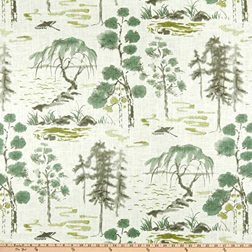 P Kaufmann West Lake Linen Celadon Fabric, Toile, Fabric By The Yard