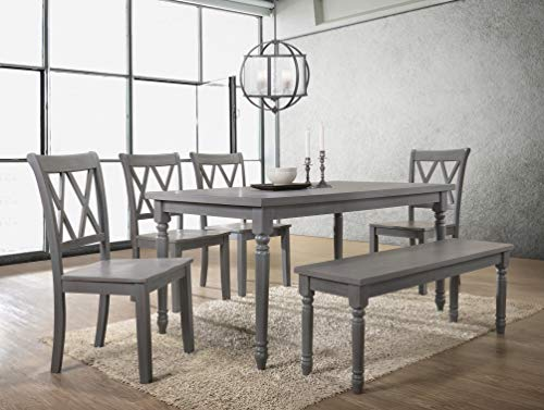 Best Master Furniture Paige 6 Pcs Dining Set with Bench, Rustic Grey